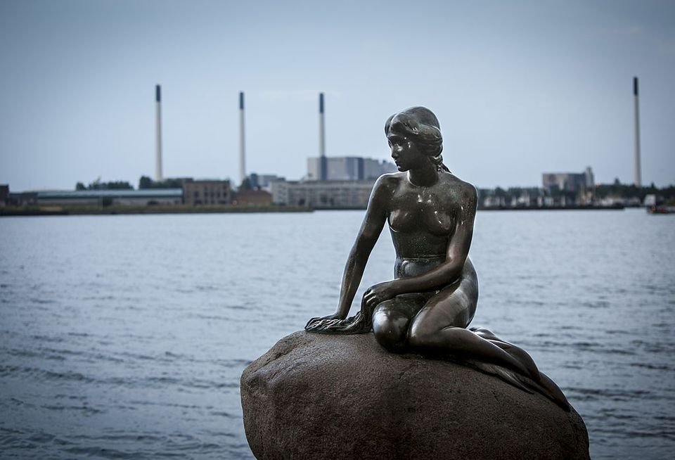 The Statue of the Little Mermaid in Copenhagen, Denmark.