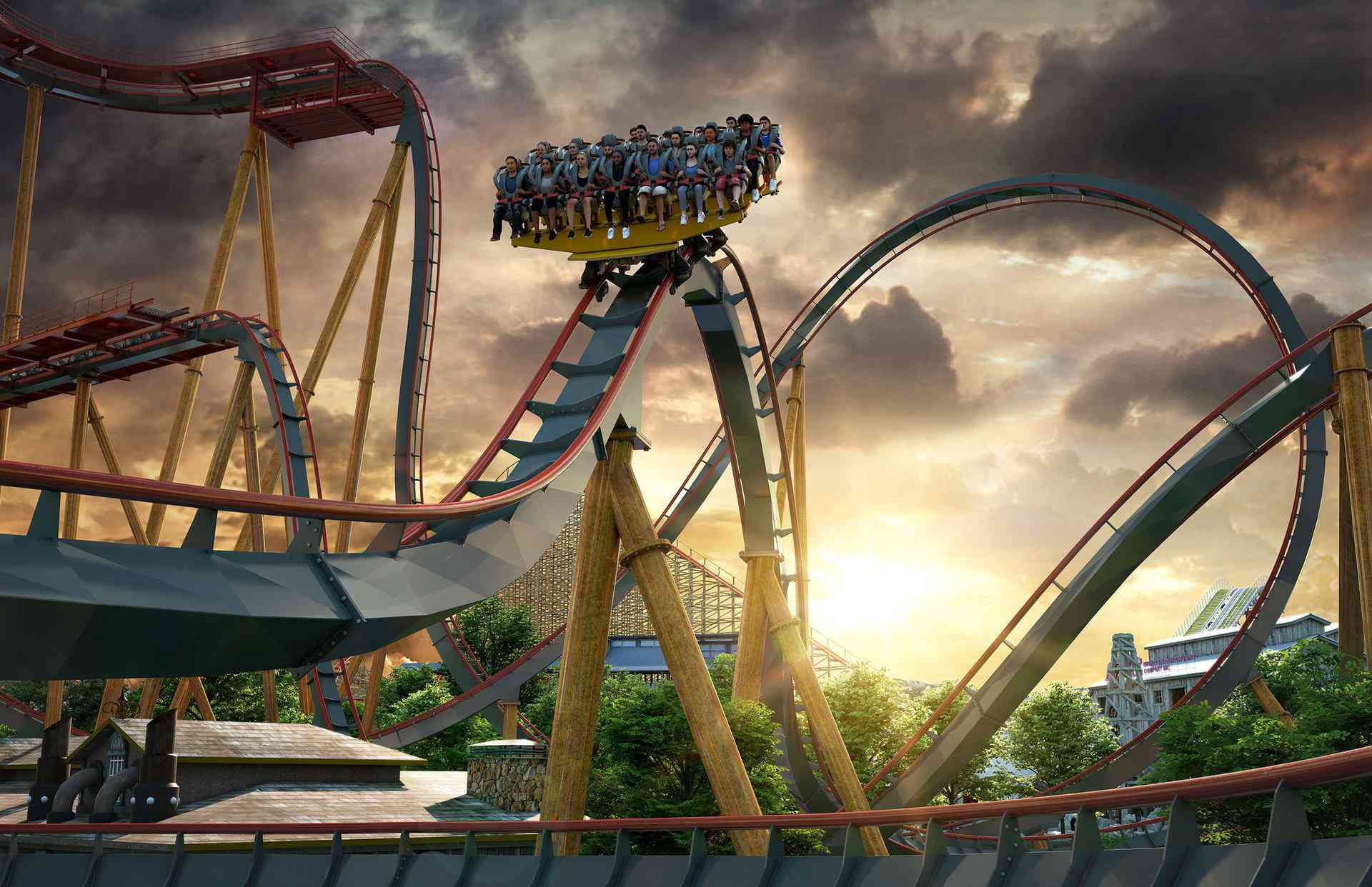 Cliffhanger coaster at Six Flags Fiesta Texas