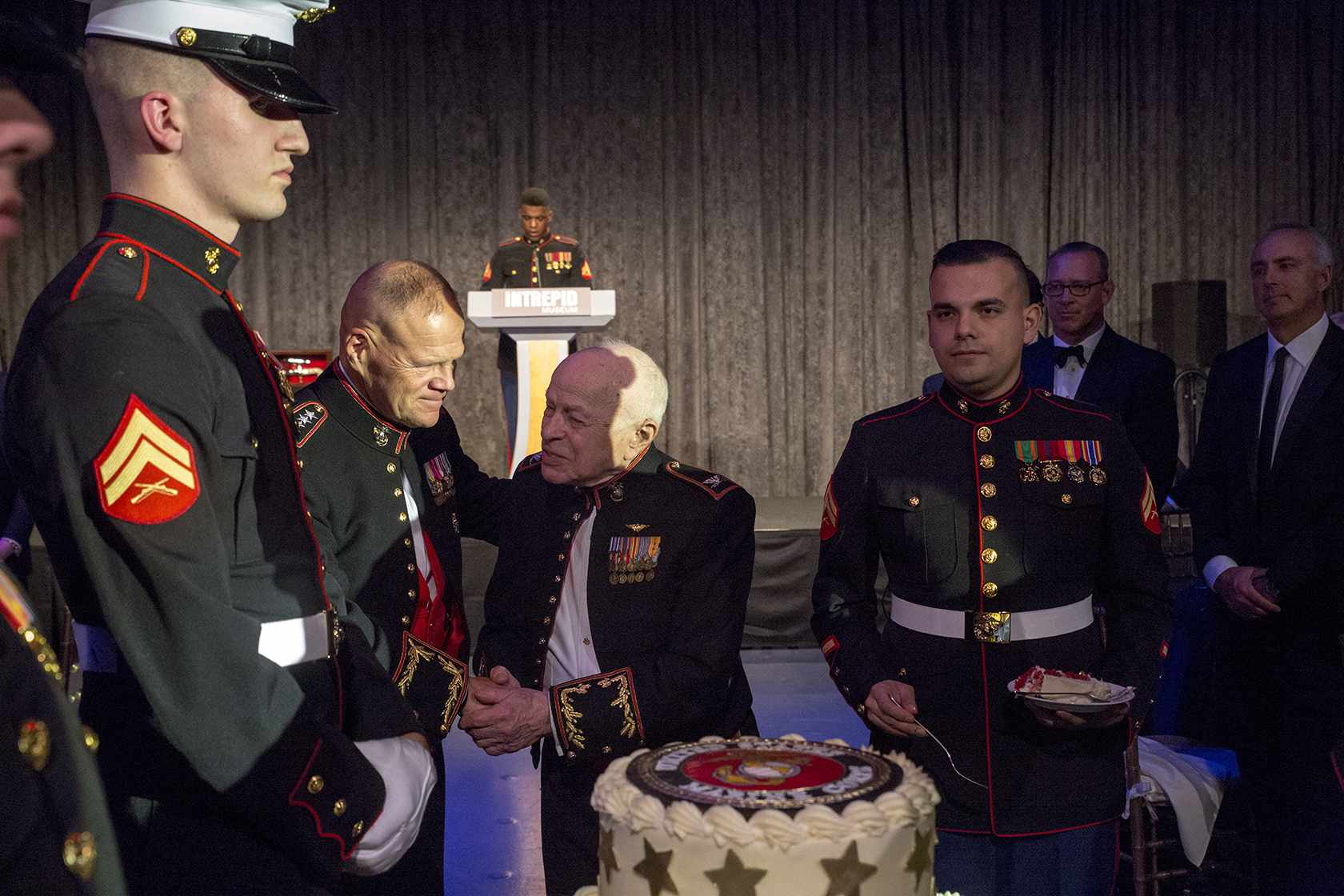 Cutting of the cake during hte 242nd Marine Corps Birthday Gala
