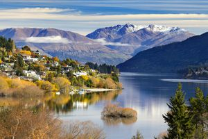 Panoramic view of beautiful Queenstown in Autumn