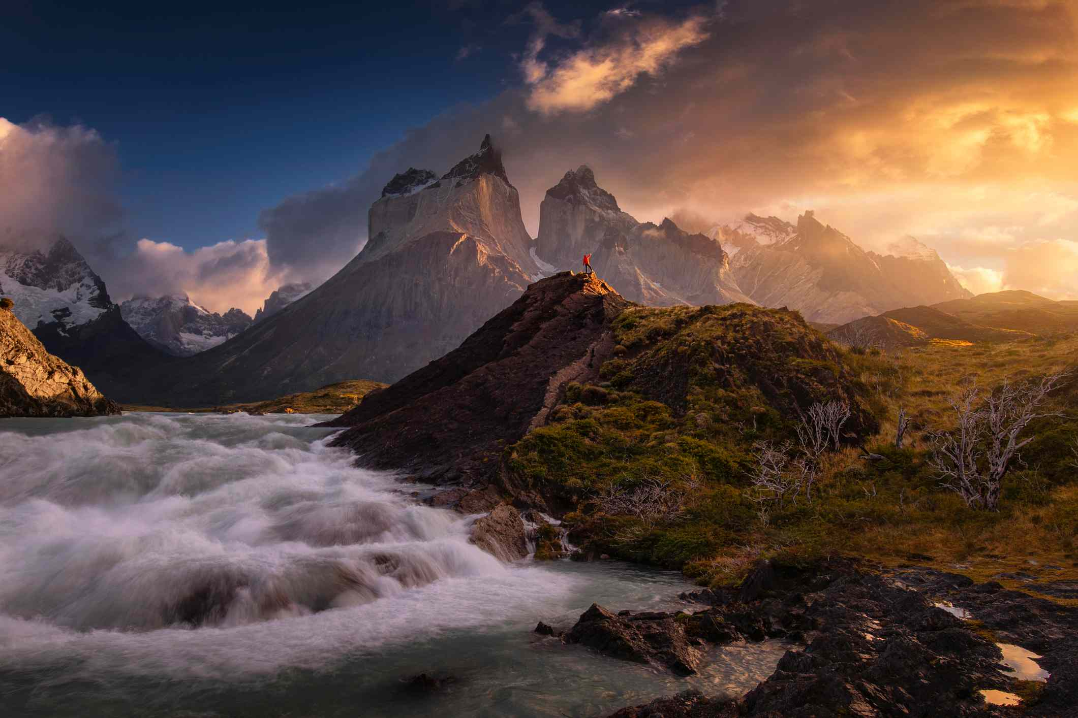 Waterfall with Cuernos del Paine at Torres del Paine National Park, Patagonia Chile
