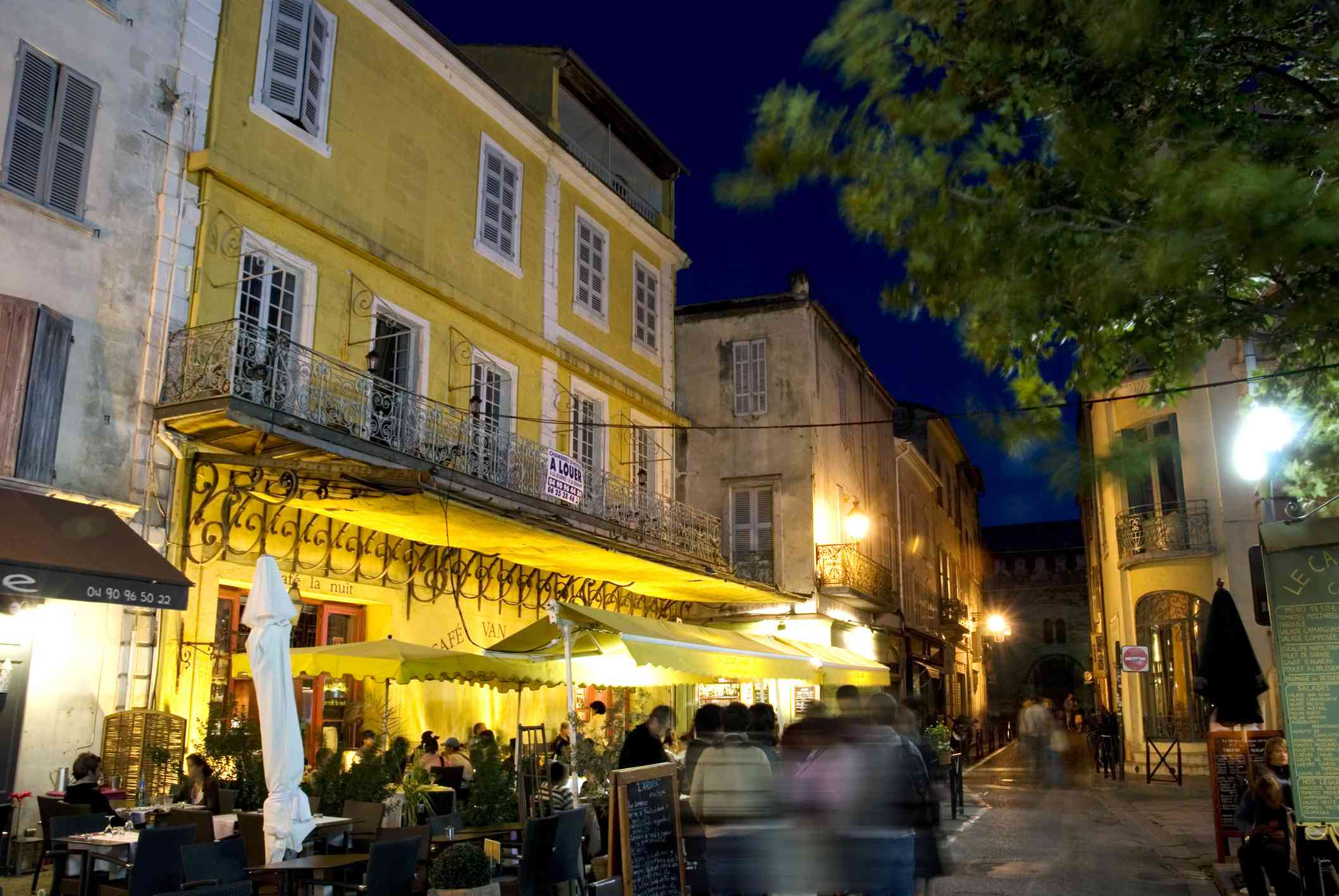Arles, France, famous cafe painted by Vincent Van Gogh