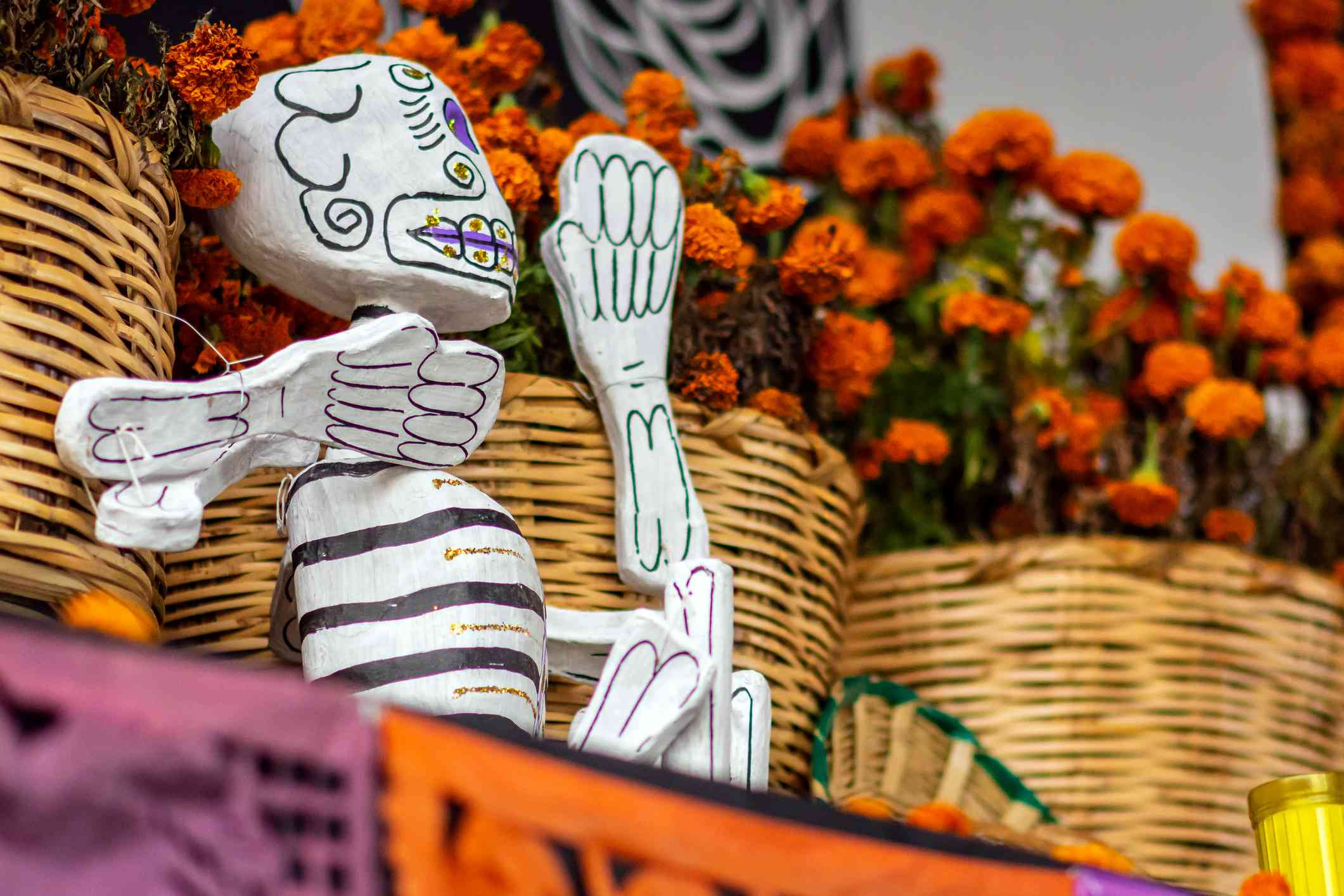Day of the Dead skeleton and marigolds