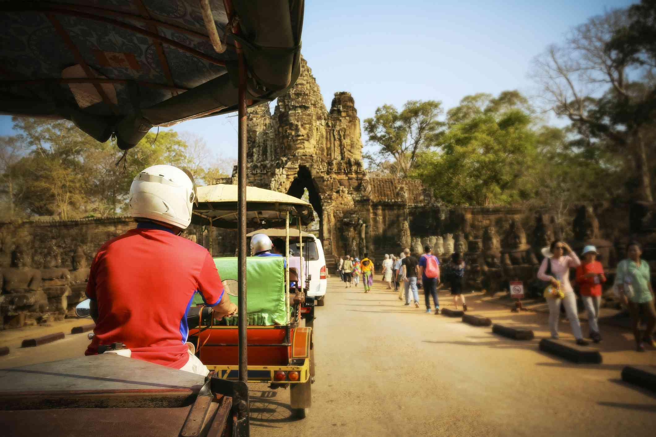 Cambodia, Siem Reap, Angkor Wat, driving tuk tuk
