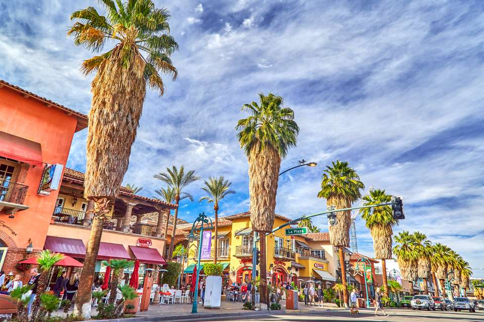Palm trees and main street of Palm Springs,California,USA