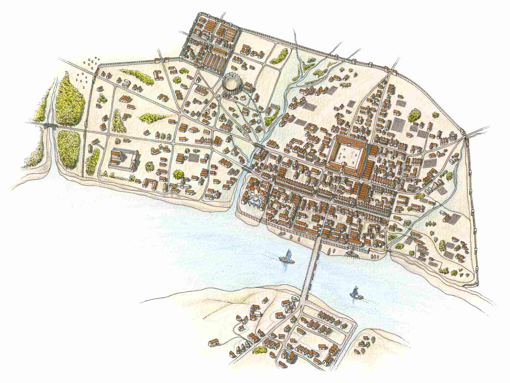 Illustration of early walled Roman settlement of Londonium on banks of Thames River