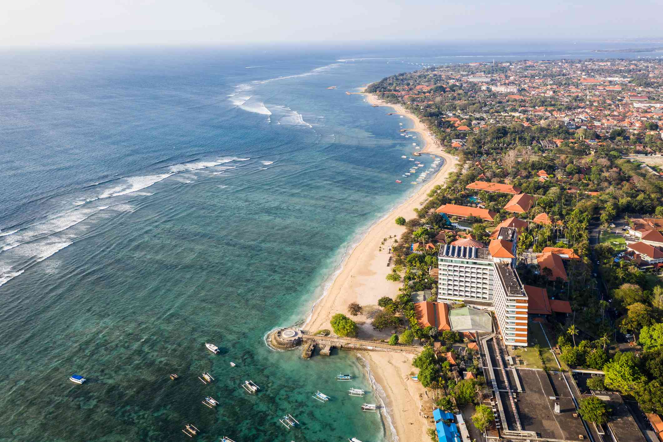 Aerial view of Sanur beach in Bali, Indonesia