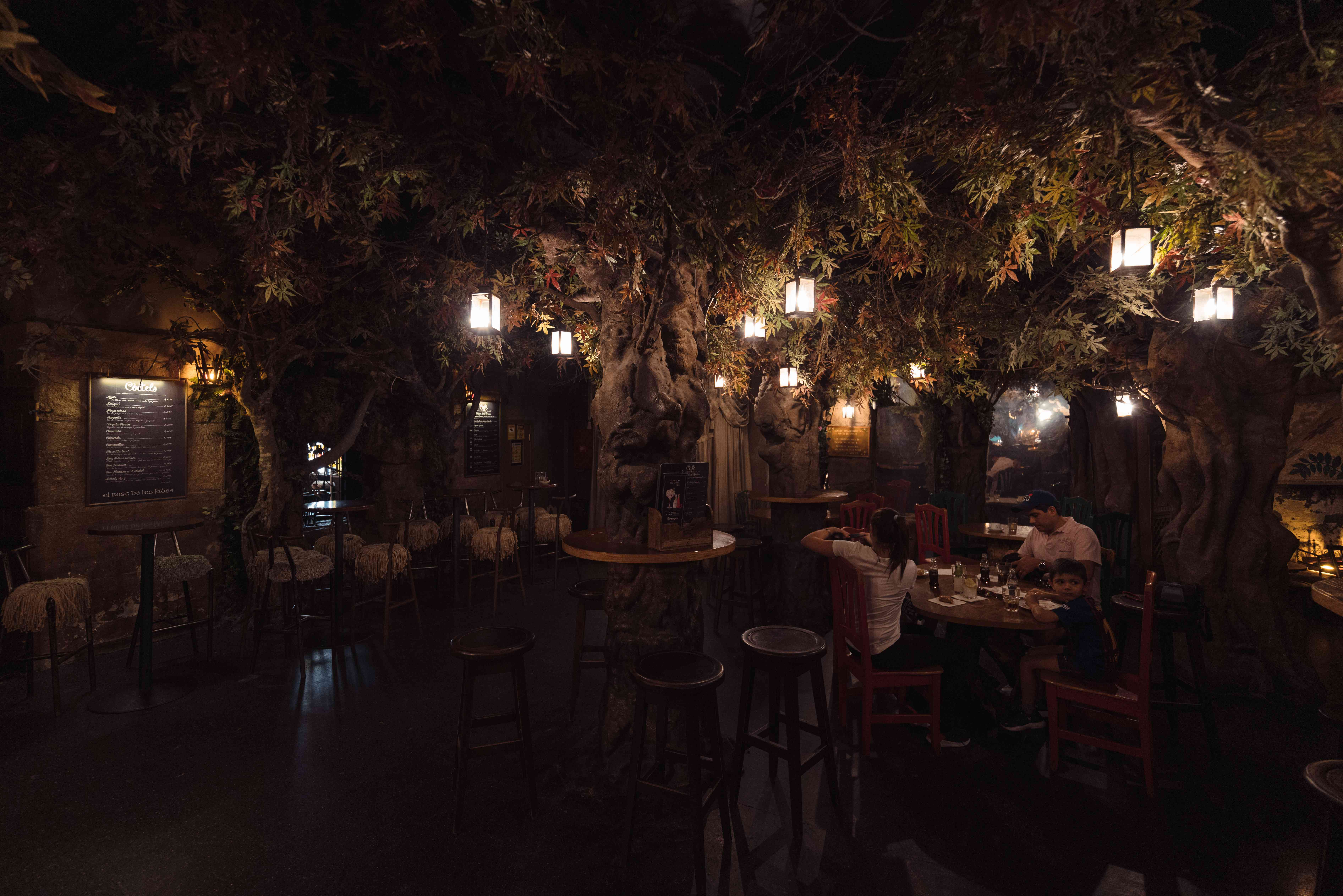 El Bosc de les fades - a cafe that looks like a forest at night