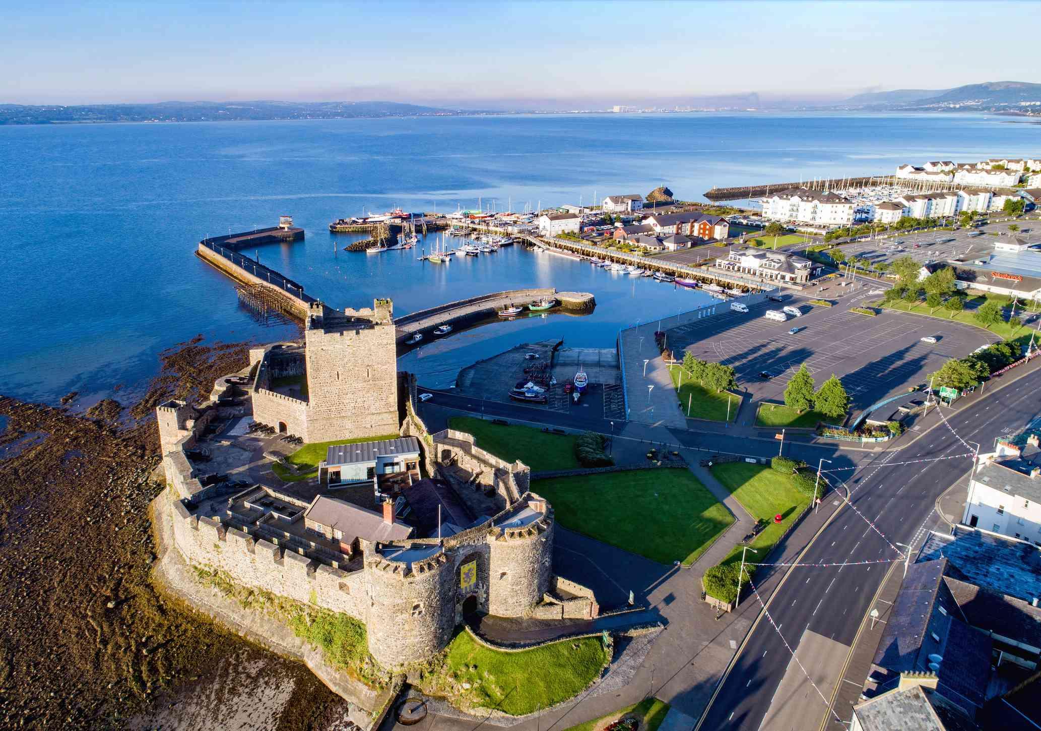 Castle and marina in Carrickfergus, Northern Ireland, UK