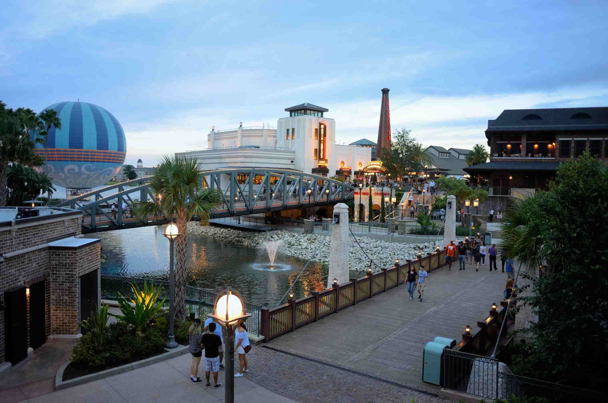 People enjoying the Disney Springs shopping and restaurant area