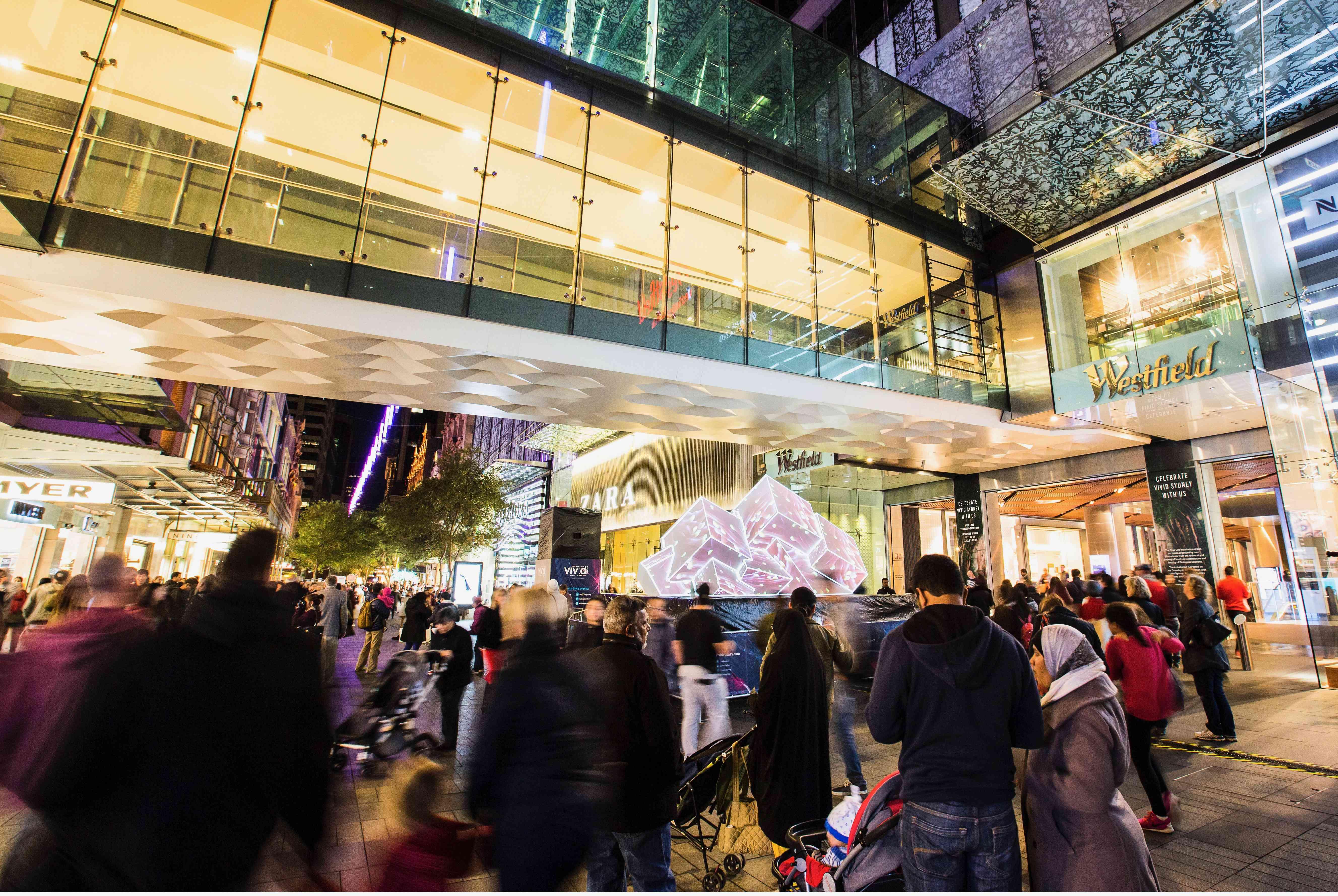 Pitt Street Mall at night