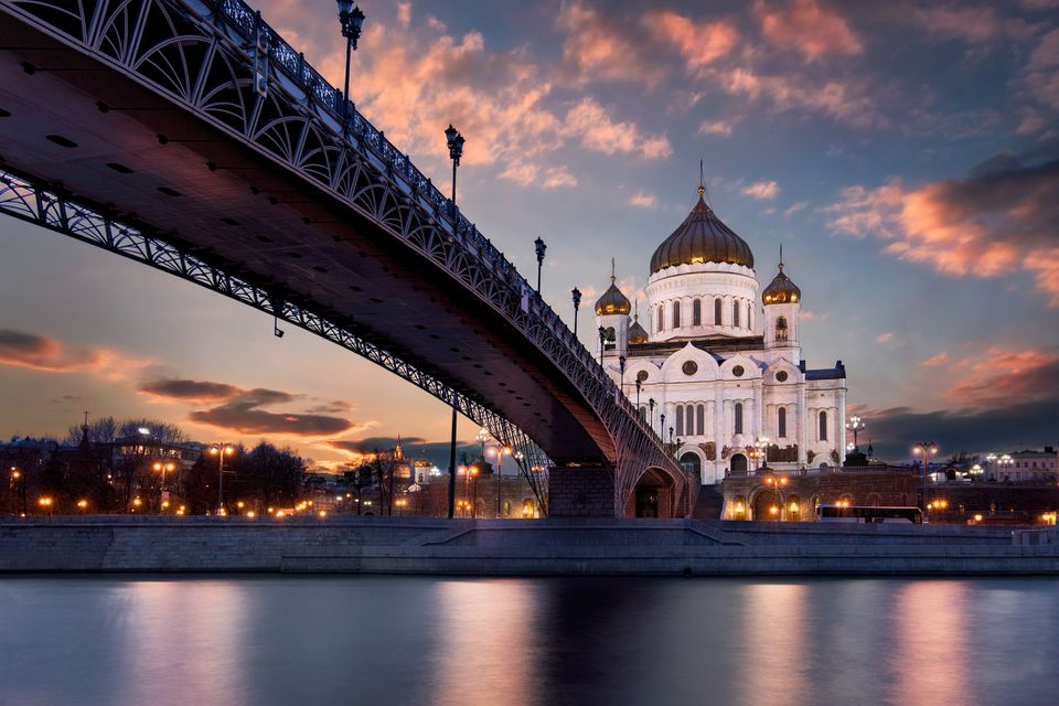 Patriarshy Bridge and Cathedral of Christ the Redeemer in Moscow