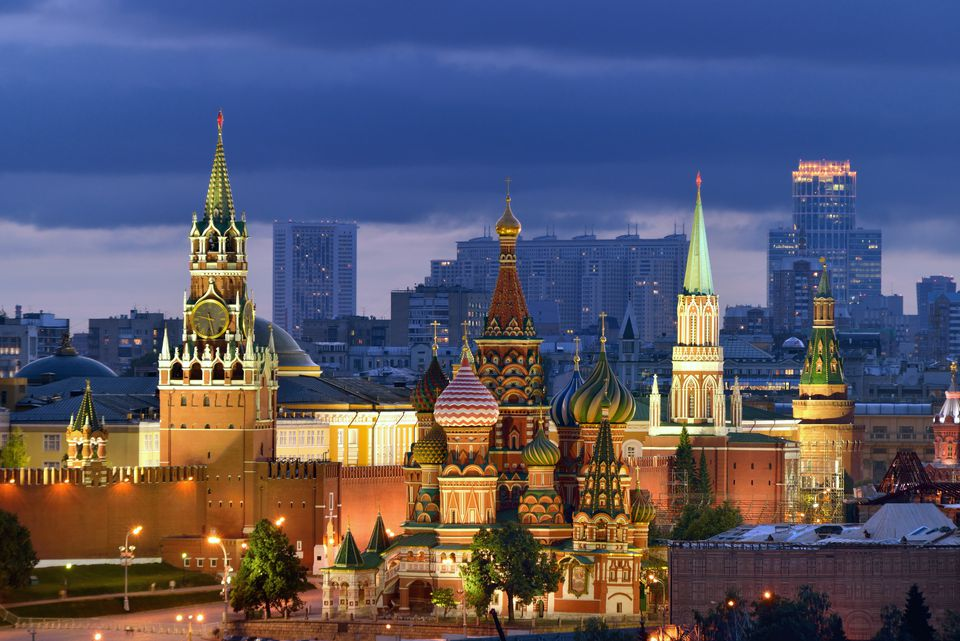 Moscow Kremlin and St Basil cathedral at dusk