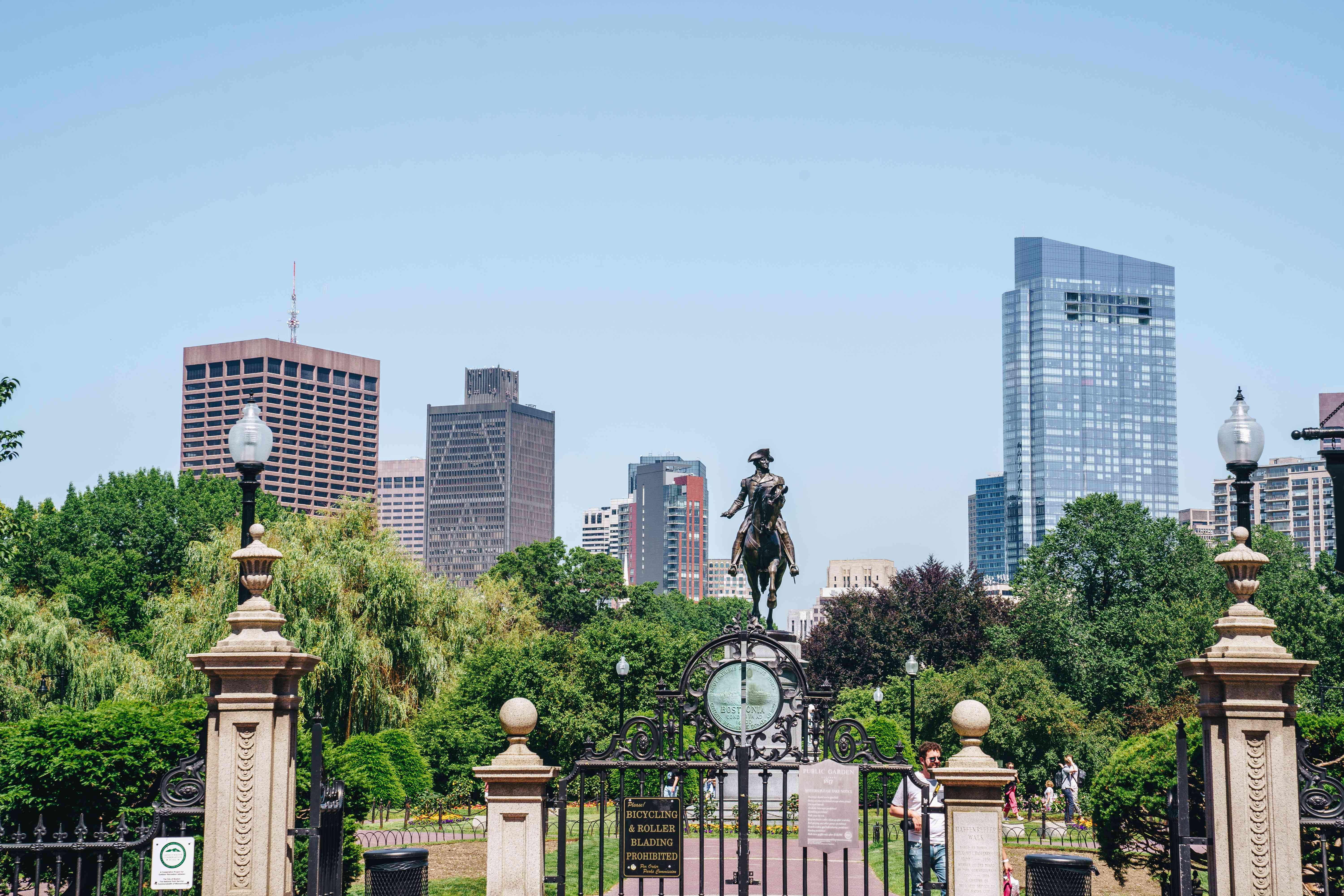 A view of boston public garden with a skyline behind it