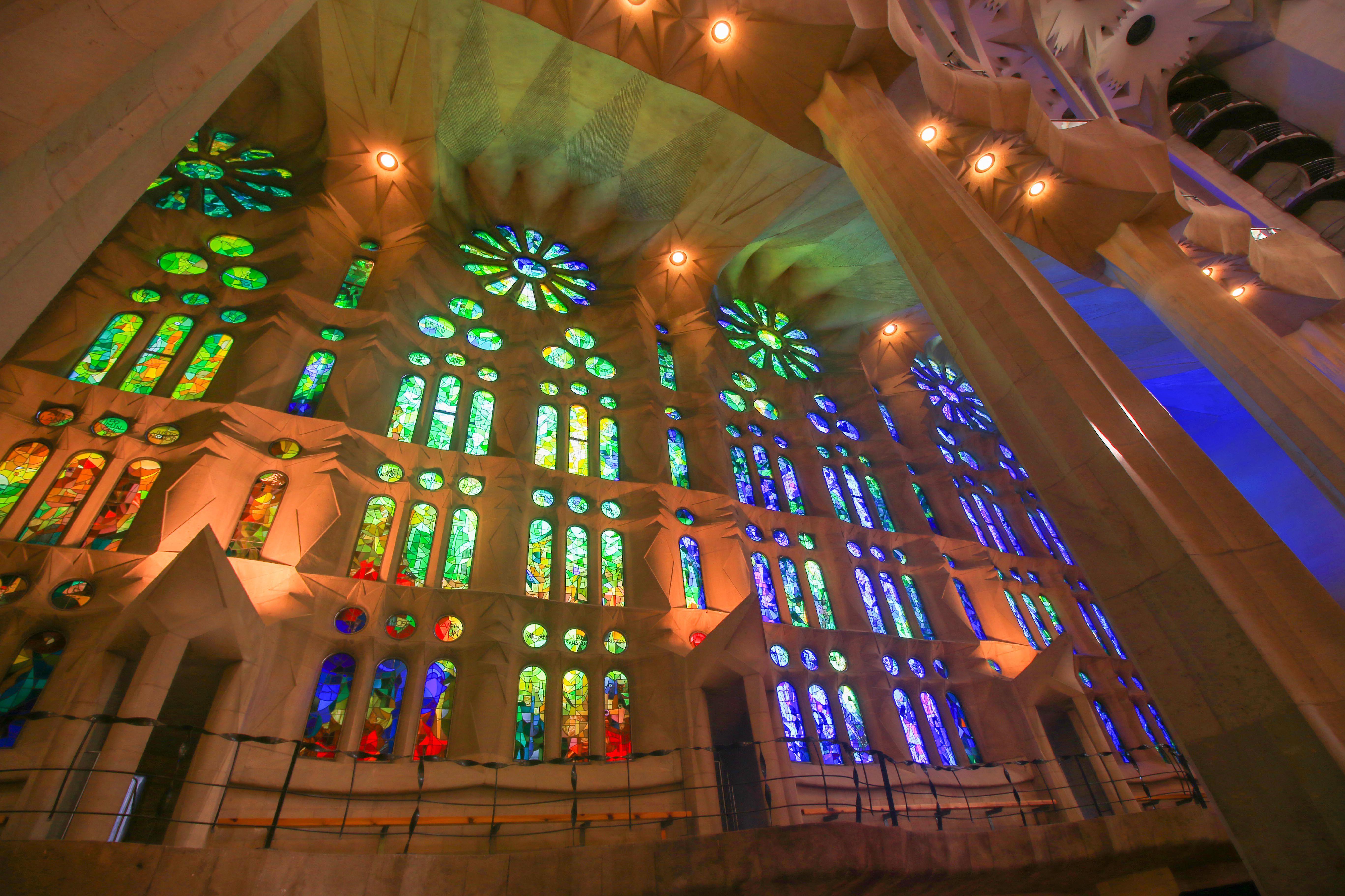 Stained Glass windows inside La Sagrada Familia