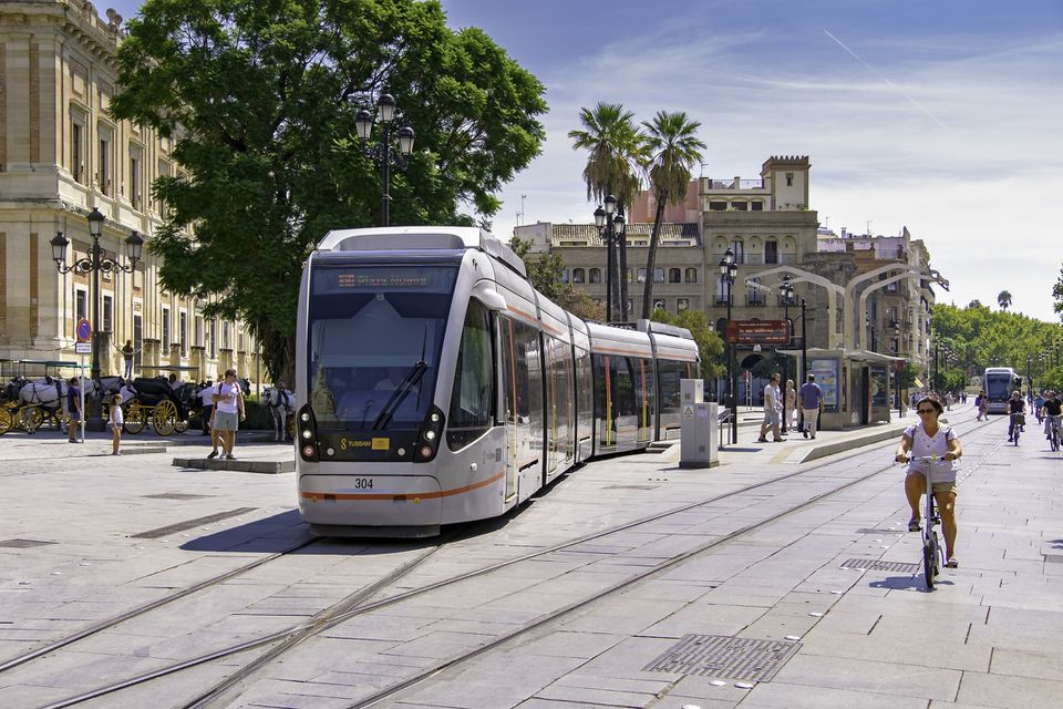 Seville trams (light rail) blend with historic city centre