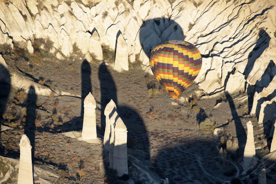 Hot air balloon over Love Valley
