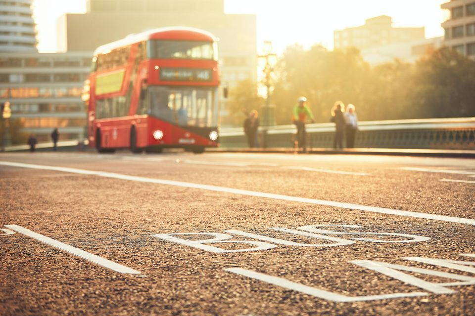 View Of Bus Lane In London City