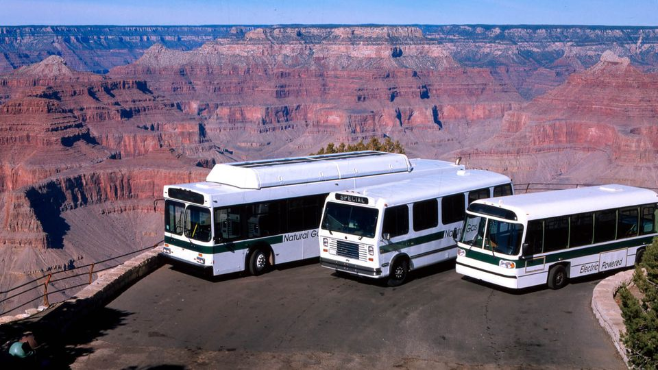 Tour busses at the Grand Canyon