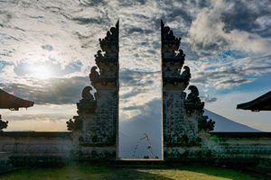 Traditional gateway into a balinese temple Pura Luhur Lempuyang