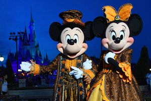 Mickey and Minnie in Halloween costumes