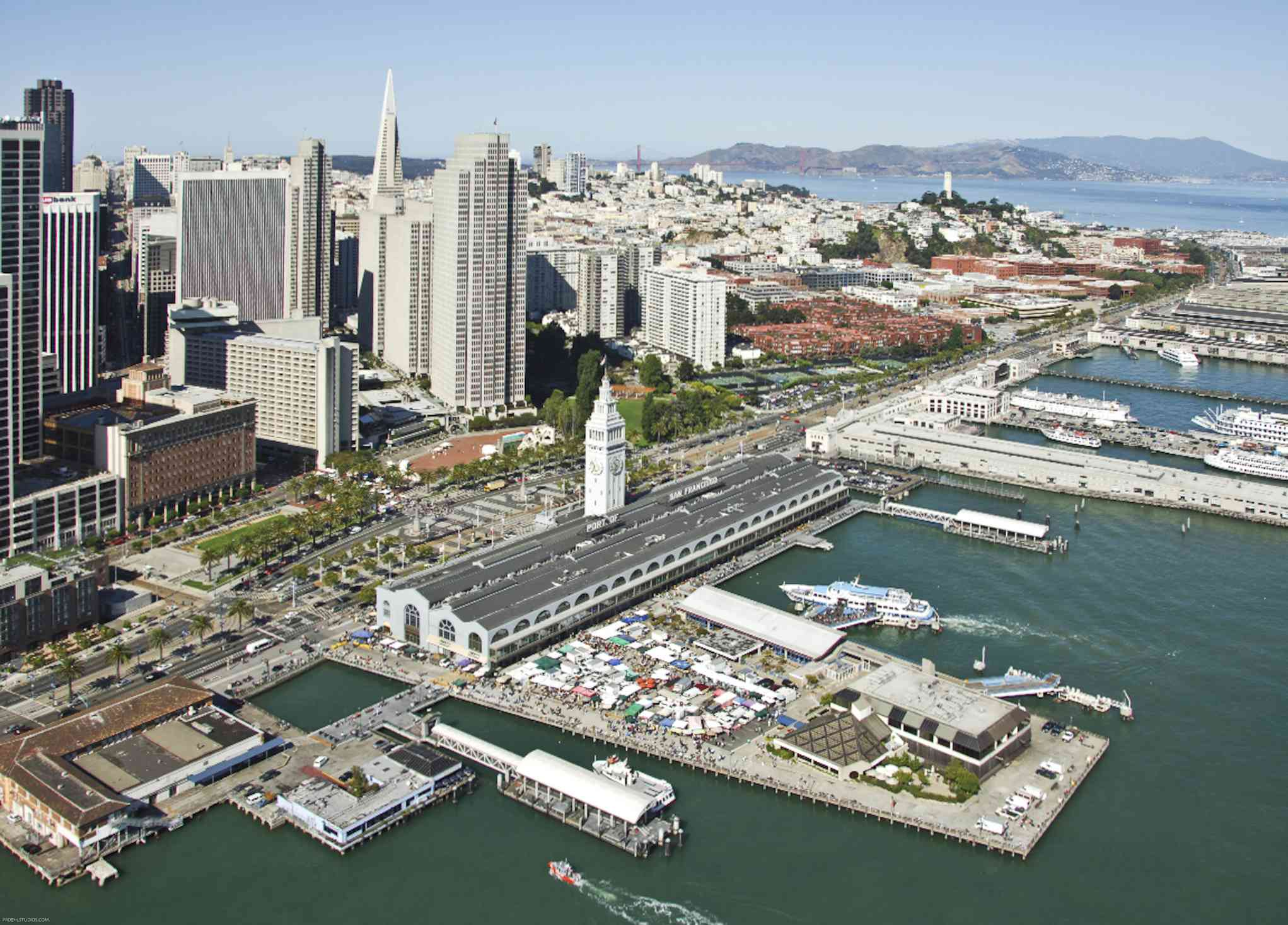 The SF Ferry Building on market day