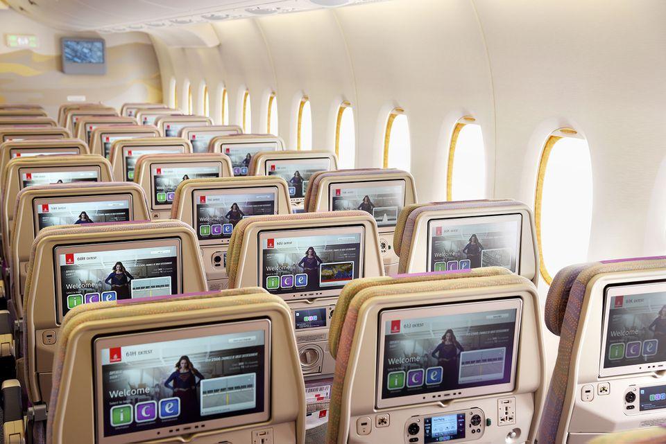 Emirates aircraft cabin