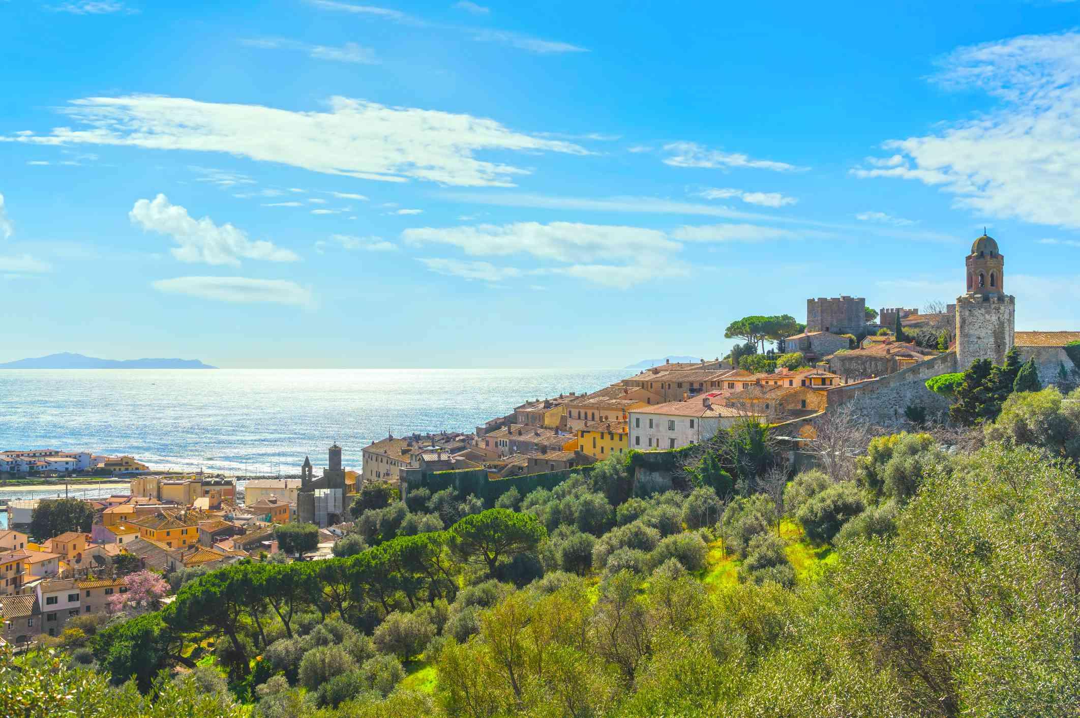 Castiglione della Pescaia, with view of the old town and shoreline