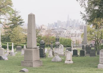 Green-Wood Cemetery with Manhattan in background