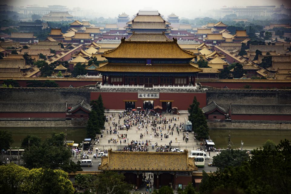 Aerial view of the Forbidden City in Beijing