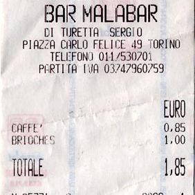 italian cash register receipt