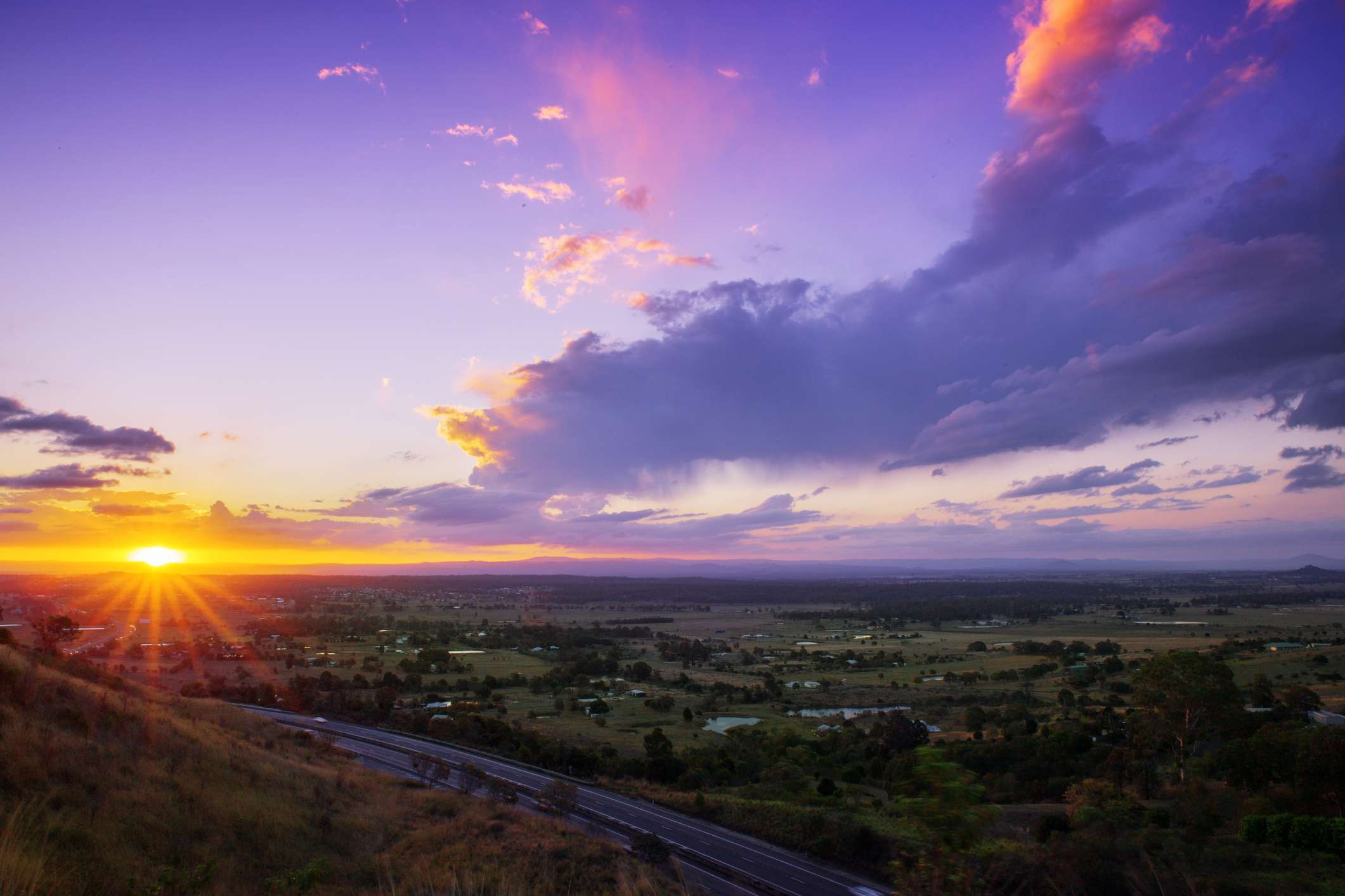 Purple tinged sunset over Lockyear Valley