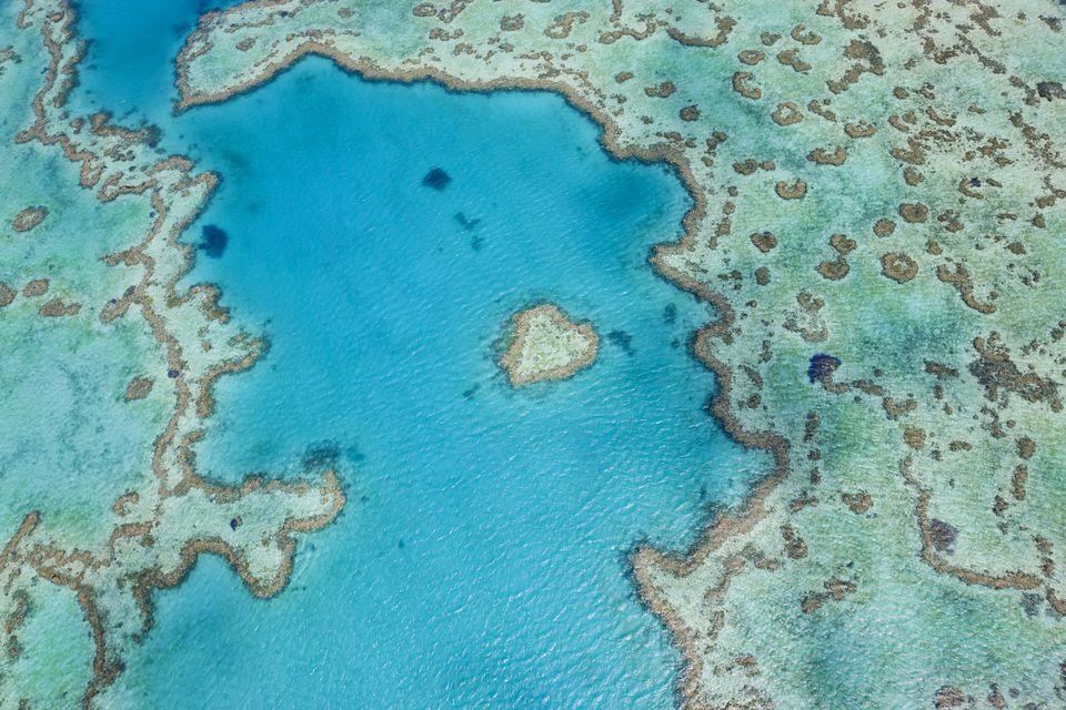 """The Great Barrier """"Heart Reef"""" in Australia"""