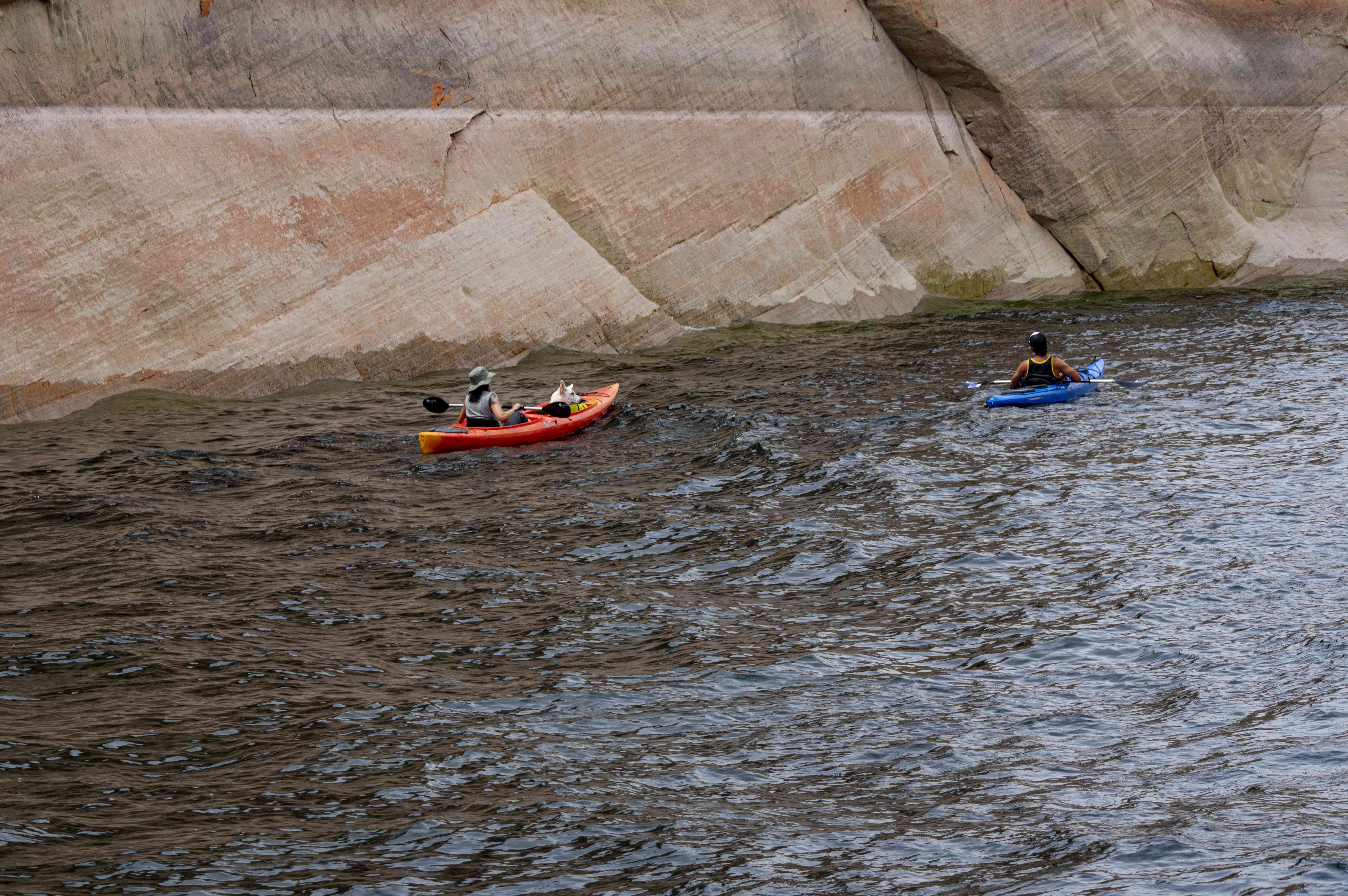Two people kayaking in Lake Powell