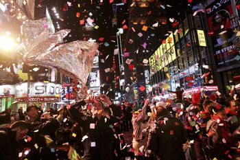 Revelers Descend On Times Square For New Years Eve