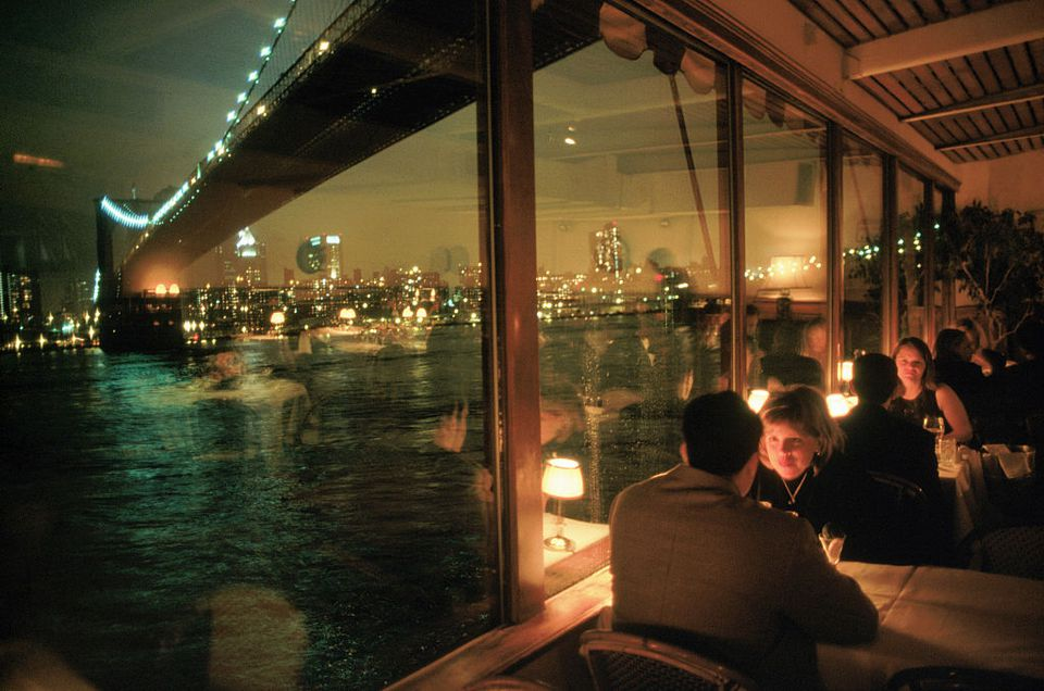 Diners Enjoying View of Brooklyn Bridge from the River Cafe