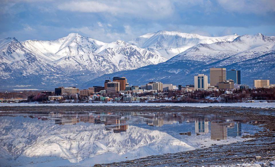Anchorage, Alaska with mountain backdrop