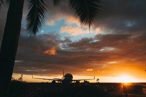 Hawaiian airport at sunset