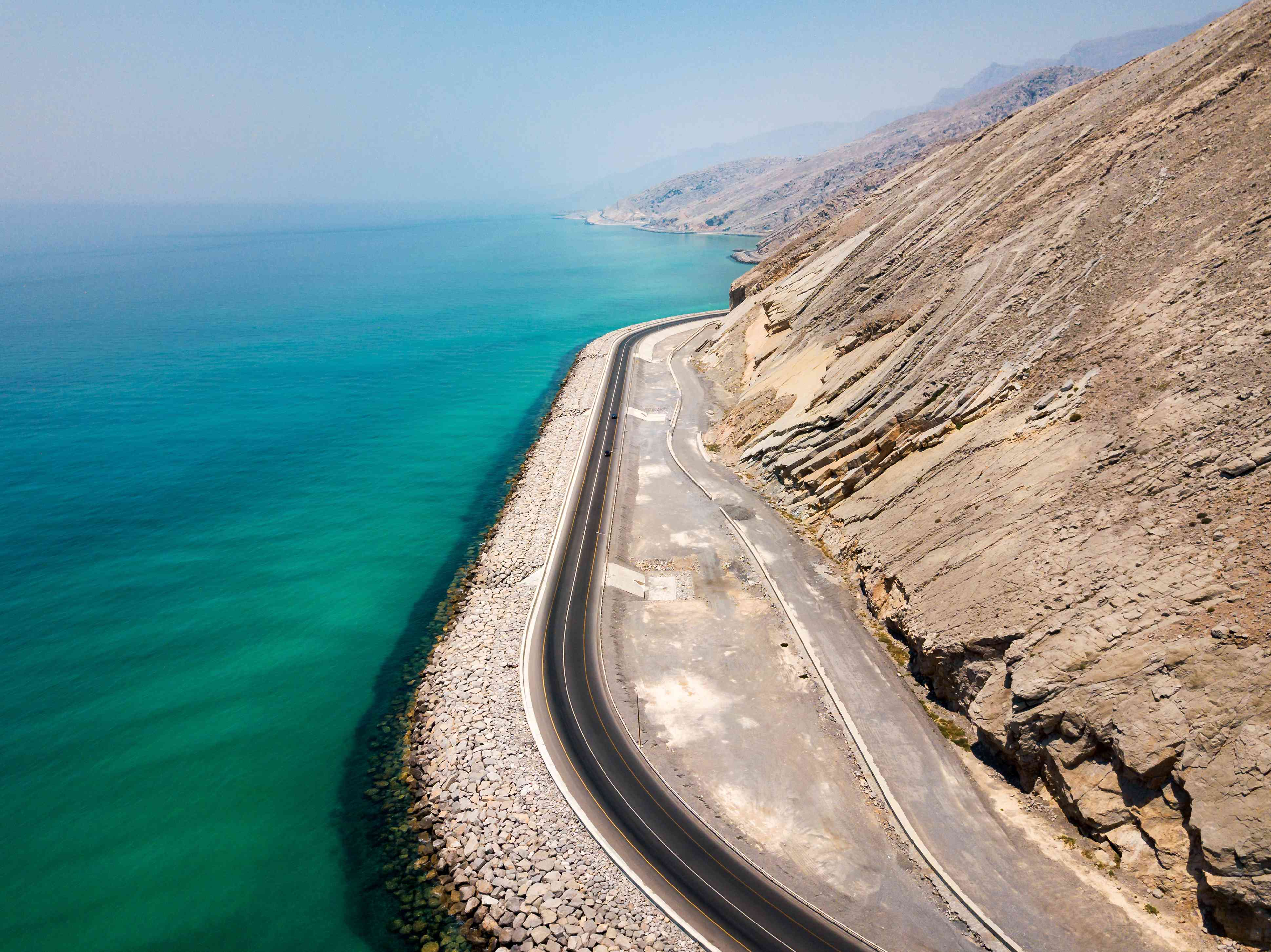 Coastal road and seaside in Musandam Governorate of Oman aerial view