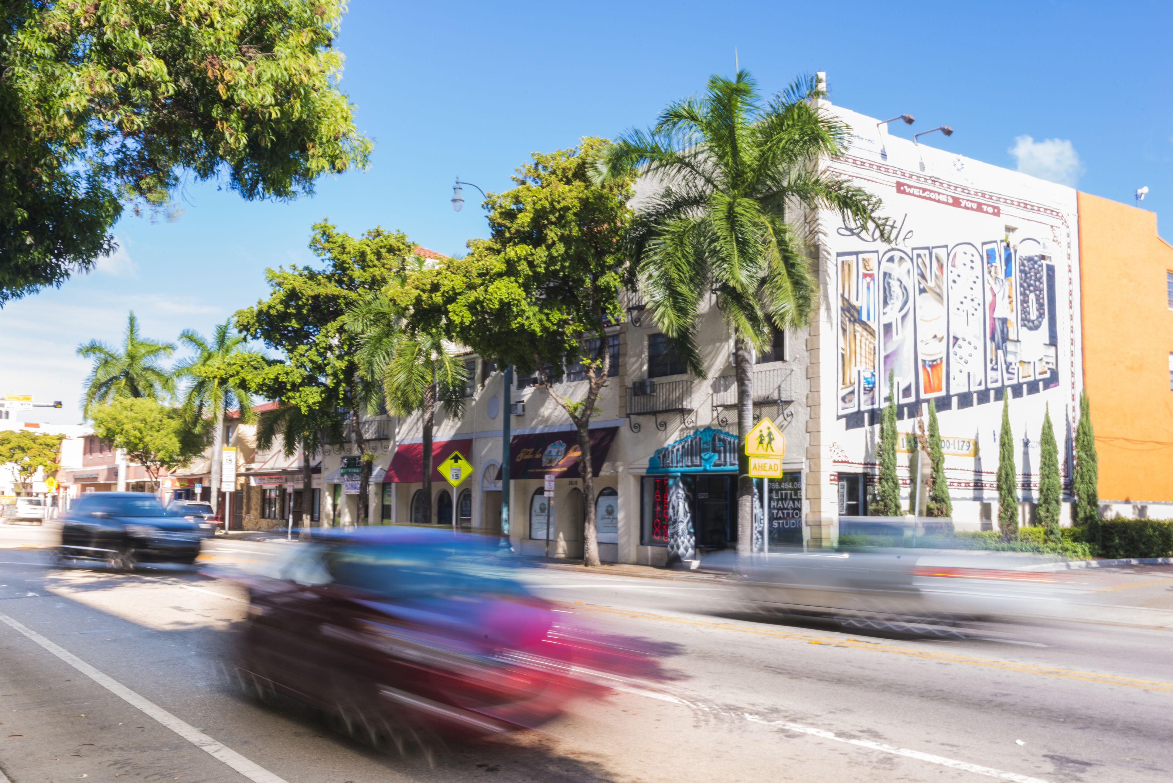 Miami Calle Ocho Little Havana Traffic Florida Travel Destination USA