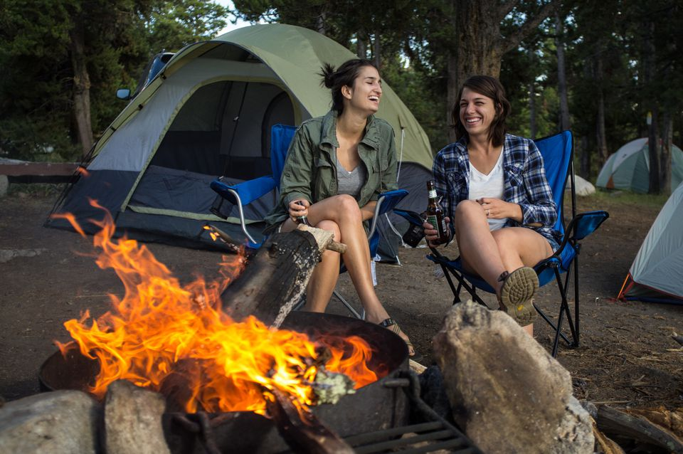 girlfriends camping