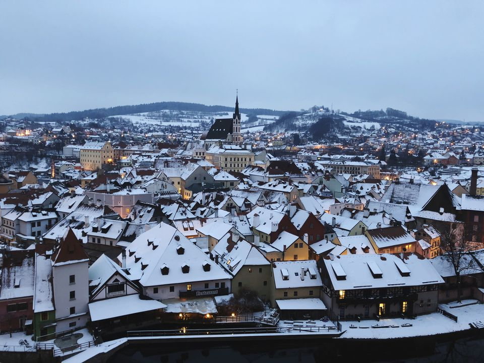 View Of Snow-Covered Houses In Prague During Winter