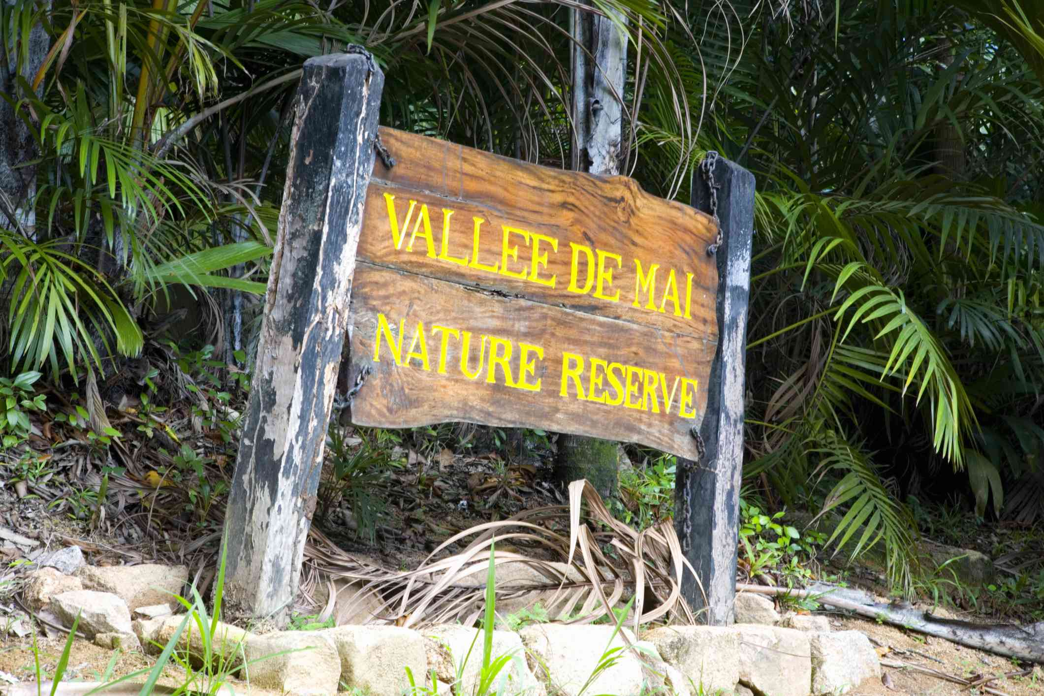 Sign marking entrance to the UNESCO listed Vallee de Mai nature reserve