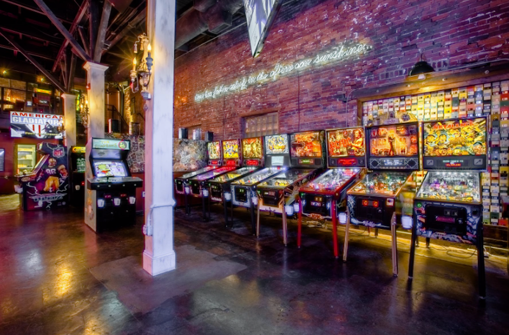 pinball machines and video games at Headquarters Beercade.