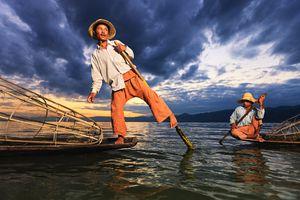 Leg-rowers on Inle Lake in Myanmar