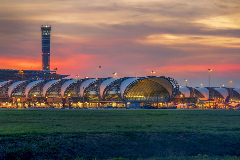 Suvarnabhumi Airport in Thailand at sunset