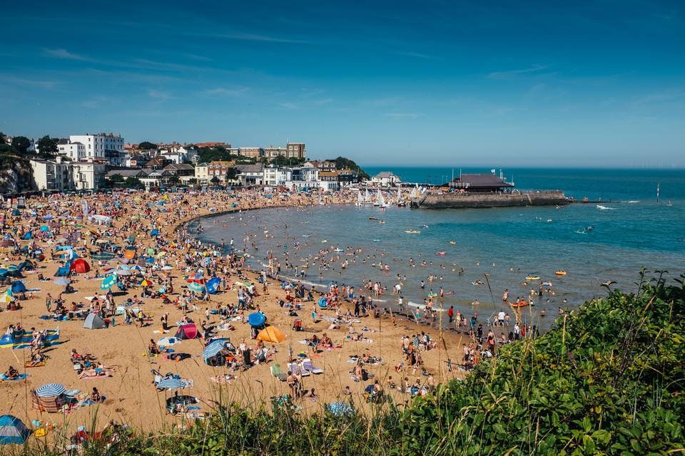 Busy UK beach