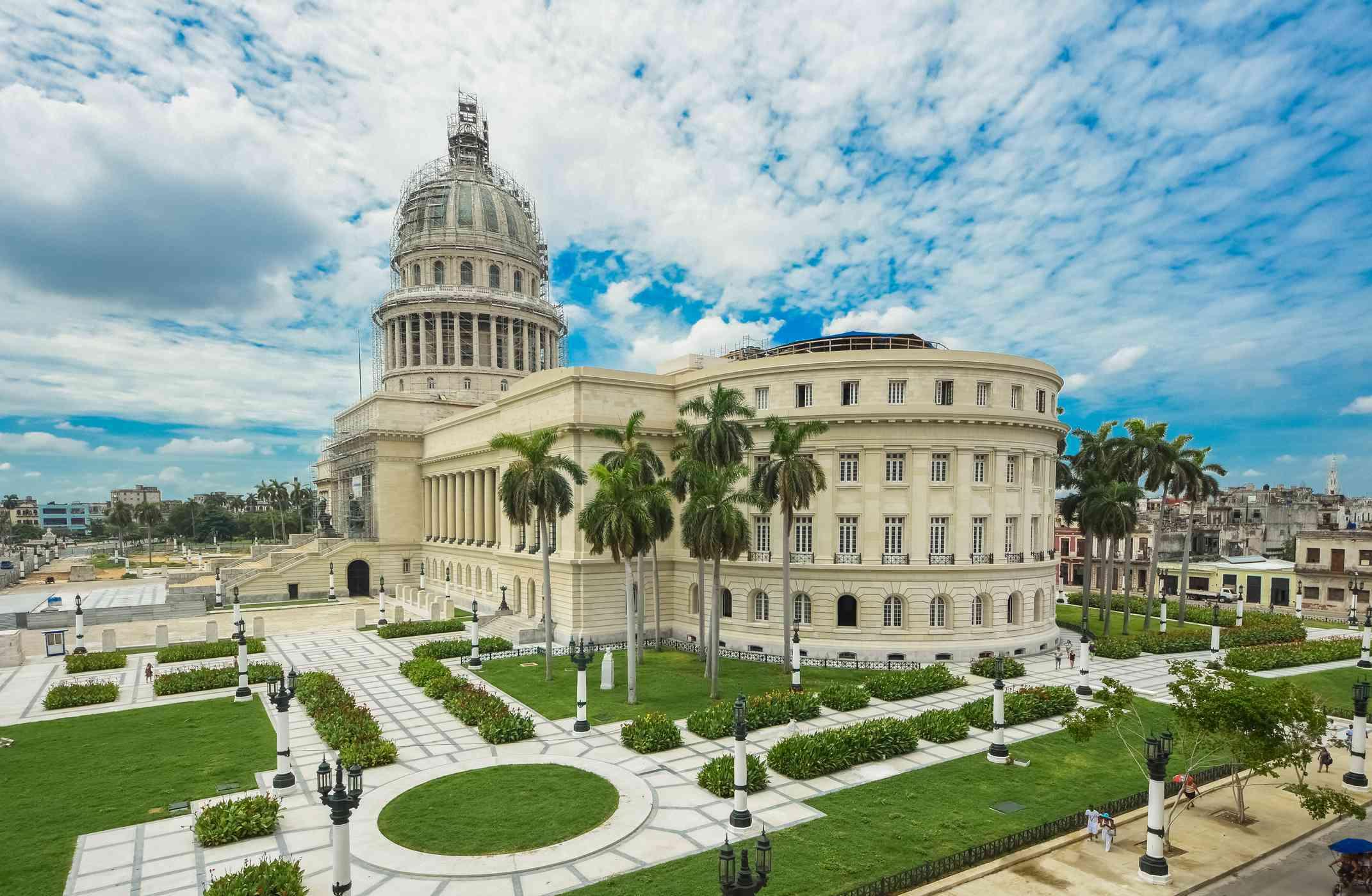 Capitol building with dramatic sky in Havana, Cuba
