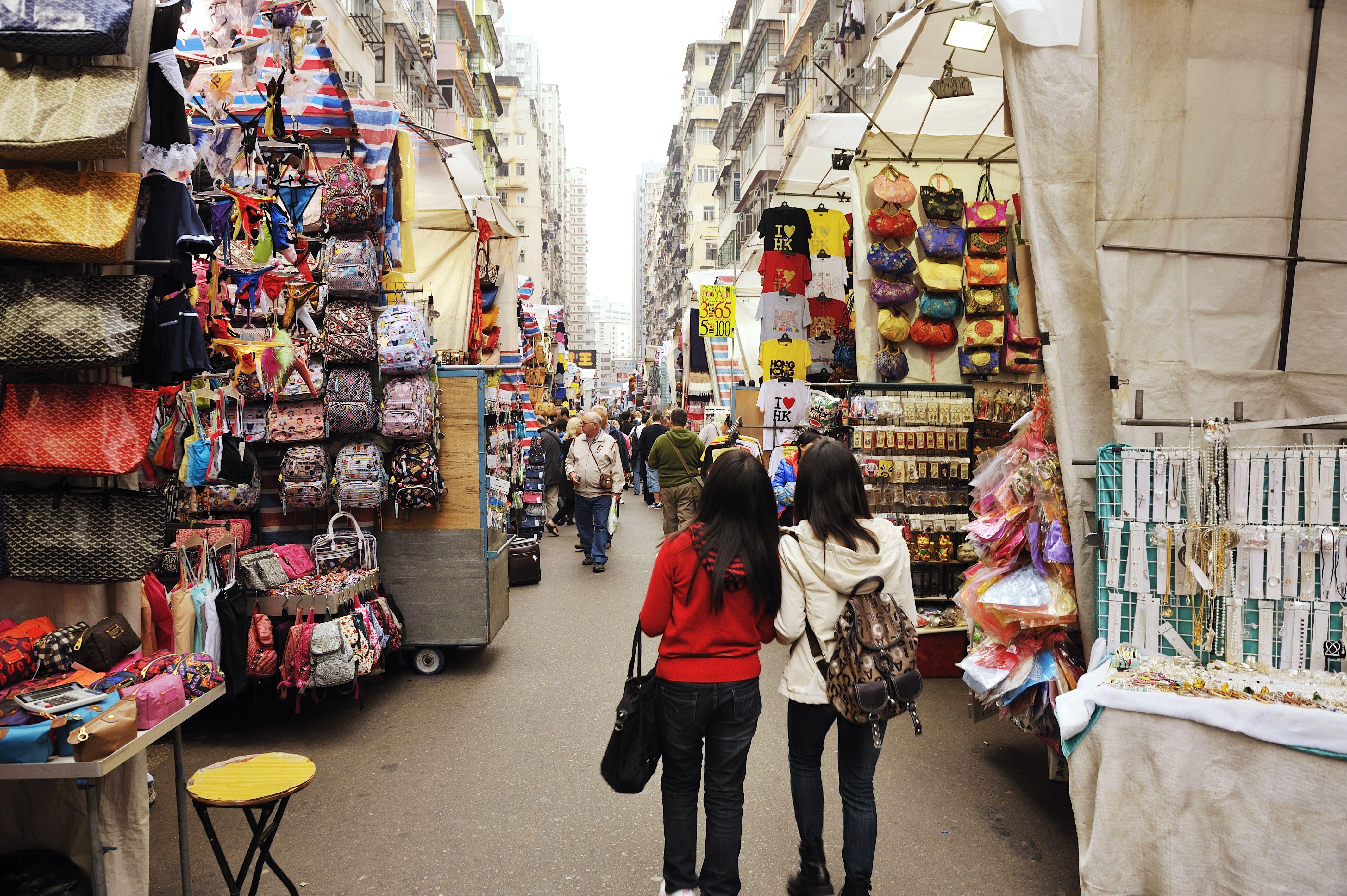 Mercado de mujeres en la calle Tung Choi