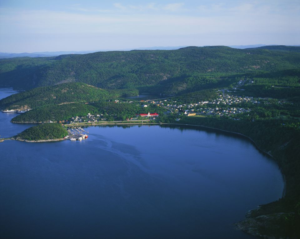 Aerial view of Tadoussac and Tadoussac Bay, Saguenay-St.Lawrence Marine Park, Manicouagan Region, Quebec